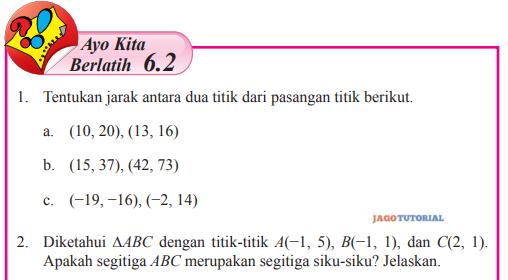 Jawaban Matematika Kelas 8 Ayo Kita Berlatih 6 2 Hal 22 24 Tentukan Jarak Antara Dua Titik Jagotutorial